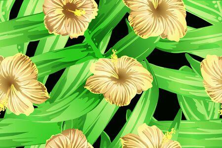 Green yellow exotic pattern. Monstera leaves and hibiscus flowers in summer print.  Hawaiian t-shirt and swimwear tile.  Horizontal romantic wild vector exotic tile. Hypernatural botanic design.