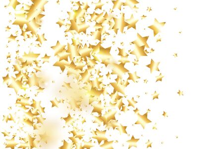 Gold star confetti on white background.  Minimalistic fallen particle. Abstract vector colorful confetti. Birthday party backdrop. Surprise card template Ilustrace