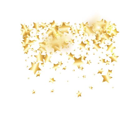 Gold star confetti on white background.  Minimalistic fallen particle. Holiday vector colorful confetti. Birthday party backdrop. Christmas card template Ilustração