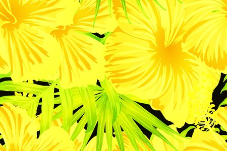 Yellow exotic pattern. Monstera and hibiscus flowers tropical bouquet.  Saturated large floral swimwear print. Horizontal california natural texture design. Bonny spring botanical design.