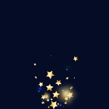 Gold star confetti on black background.  Minimalistic fallen particle. Abstract vector colorful confetti. Sparkle bright decoration backdrop. Surprise card template
