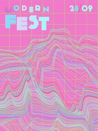 Music cover in pink, blue, cyan, green colors. Rock concert flyer. Minimal tech brochure. Sound background. Abstract summer gradient. Promotion party ads. Vintage wave template. Ilustrace