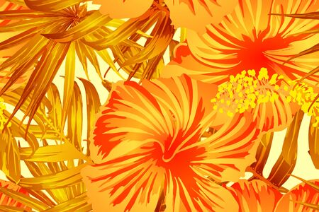 Orange yellow exotic pattern. Monstera leaves and hibiscus flowers in summer print.  Saturated large floral swimwear print. Horizontal romantic wild vector exotic tile. Hypernatural botanic design. Ilustrace