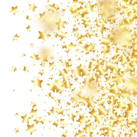 Gold star confetti on white background. Flying shiny sparkle particles. Abstract vector colorful confetti. Birthday party backdrop. New Year card template