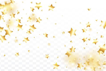 Gold star confetti on transparent background. Flying shiny sparkle shower. Holiday vector colorful confetti. Birthday party backdrop. New Year card template