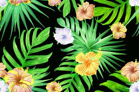 Patrón exótico amarillo verde. Hojas de monstera y flores de hibisco en estampado de verano. Camiseta hawaiana y azulejo de traje de baño. Azulejo exótico horizontal romántico vector salvaje. Bonny diseño botánico de primavera.
