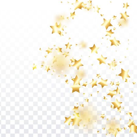 Gold star confetti on transparent background.  Flying shiny sparkle shower. Holiday vector colorful confetti. Birthday party backdrop. Surprise card template