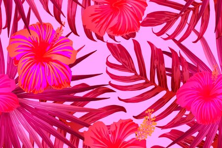 Pink red exotic pattern. Monstera and hibiscus flowers tropical bouquet.  Saturated large floral swimwear print. Horizontal california natural texture design. Bonny spring botanical design.