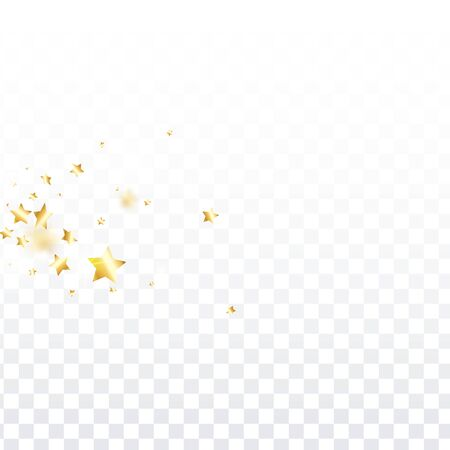 Gold star confetti on transparent background.  Flying shiny sparkle shower. Abstract vector colorful confetti. Sparkle bright decoration backdrop. Surprise card template