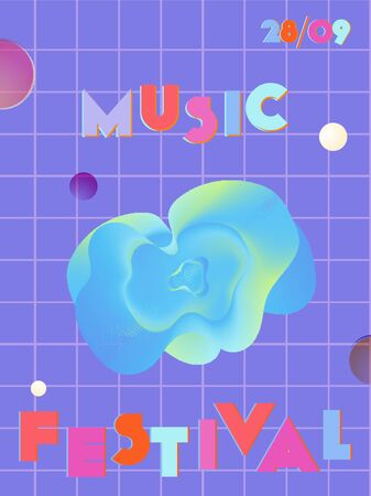 Music cover in blue, violet, pink, green colors. Radio concert flyer. Minimal line brochure. Sound background. Abstract summer gradient. Media party ads. Vintage wave template. Иллюстрация