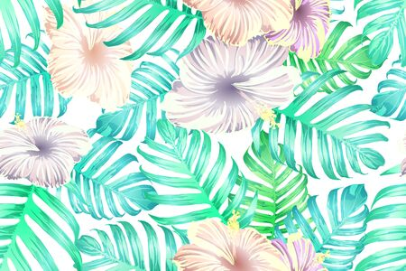 Cyan exotic pattern. Monstera leaves and hibiscus flowers in summer holiday print. Hawaiian t-shirt and swimwear tile.  Horizontal romantic wild vector exotic tile. Bonny spring botanical design.