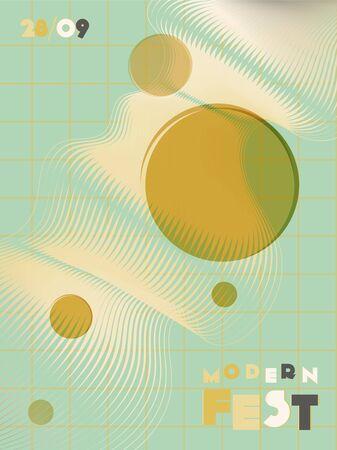 Music cover in green, yellow, black, white colors. Rock concert flyer. Minimal tech brochure. Gradient layout. Geometric audio cover. Media party ads. Vintage wave template. Illusztráció