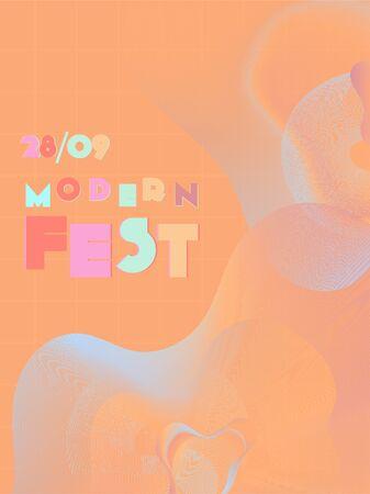 Music cover in blue, violet, pink, orange colors. Radio concert flyer. Minimal line brochure. Waveform layout. Vibration audio cover. Promotion party ads. Vintage wave template. Иллюстрация