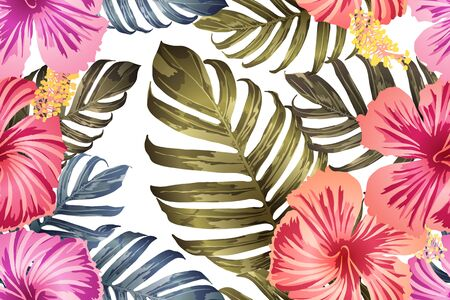 Green red exotic pattern. Monstera leaves and hibiscus flowers in summer print.  Hawaiian t-shirt and swimwear tile.  Horizontal california natural texture design. Hypernatural botanic design. Ilustracja