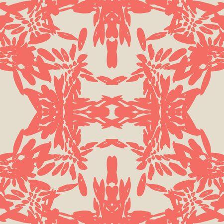 Maroon and White tie dye seamless pattern.  Shibori seamless print. Watercolor hand drawn batik.  Handmade watercolour shirt tie dye pattern. Japan traditional tile. Red and Beige shibori.