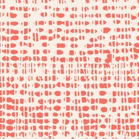 Salmon and White tie dye seamless pattern.  Shibori seamless print. Watercolor hand drawn batik.  Handmade watercolour shirt tie dye pattern. Japan traditional tile. Red and White shibori. Ilustração
