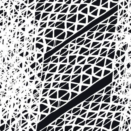 Organic Minimal Grid. Watercolor Shoji Design. Kimono Tile.  Shibori Seamless Pattern. Tie Dye Abstract Texture. Greyscale Batik Tie Dye Border. Stencil Japan Background.