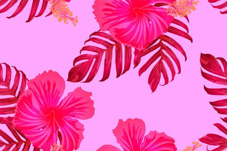 Pink red exotic pattern. Monstera leaves and hibiscus flowers in summer print.  Hawaiian t-shirt and swimwear tile.  Horizontal romantic wild vector exotic tile. Hypernatural botanic design. Çizim