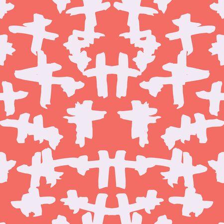 Burgundy and White tie dye seamless pattern.  Shibori seamless print. Watercolor hand drawn batik.  Handmade watercolour shirt tie dye pattern. Japan traditional tile. Maroon and White shibori. Ilustração
