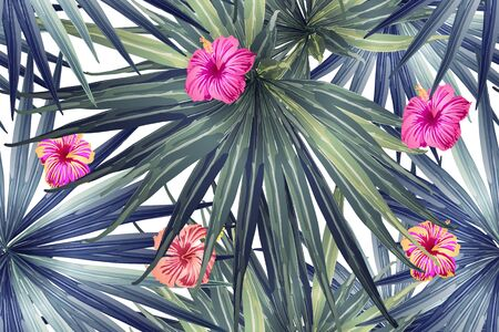 Green red exotic pattern. Monstera and hibiscus flowers tropical bouquet.  Saturated large floral swimwear print. Horizontal romantic wild vector exotic tile. Hypernatural botanic design.