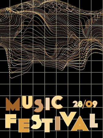 Music cover in gold, yellow, copper colors. Rock concert flyer. Minimal tech brochure. Sound background. Abstract summer gradient. Promotion party ads. Vintage wave template.