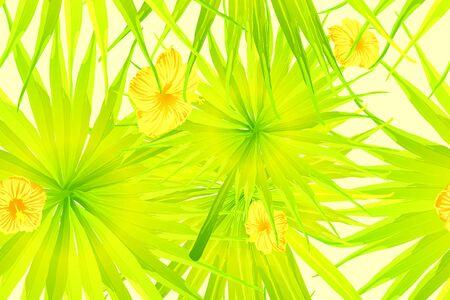 Yellow exotic pattern. Monstera and hibiscus flowers tropical bouquet.  Hawaiian t-shirt and swimwear tile.  Horizontal california natural texture design. Hypernatural botanic design. Çizim