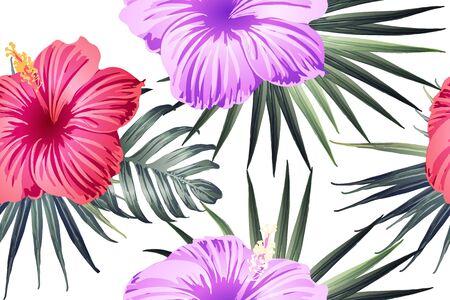 Green red exotic pattern. Monstera leaves and hibiscus flowers in summer print.  Hawaiian t-shirt and swimwear tile.  Horizontal romantic wild vector exotic tile. Hypernatural botanic design.