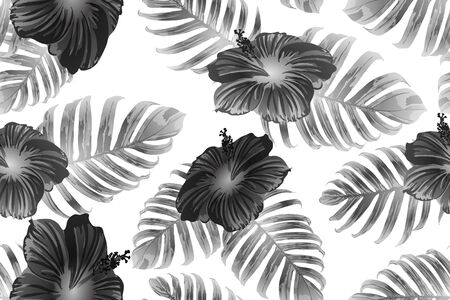 Black white exotic pattern. Monstera and hibiscus flowers tropical bouquet.  Hawaiian t-shirt and swimwear tile.  Horizontal romantic wild vector exotic tile. Hypernatural botanic design. Illustration