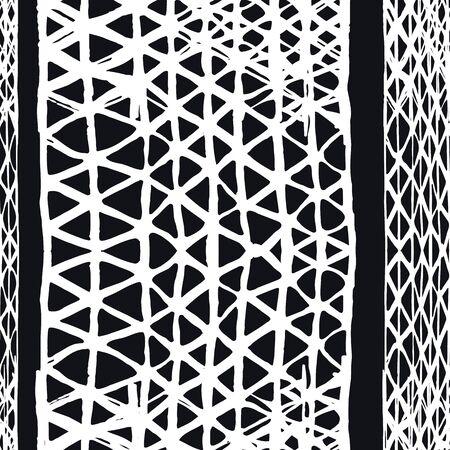 Watercolor Shoji Design. Kimono Tile.  Greyscale Batik Tie Dye Border. Stencil Japan Background. Shibori Seamless Pattern. Tie Dye Abstract Texture. Organic Minimal Grid.