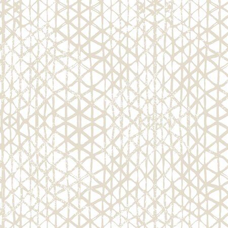 Organic Minimal Grid. Shibori Seamless Pattern. Tie Dye Abstract Texture. Batik Tie Dye Border. Stencil Japan Background. Watercolor Shoji Design. Kimono Tile.  Beige and White