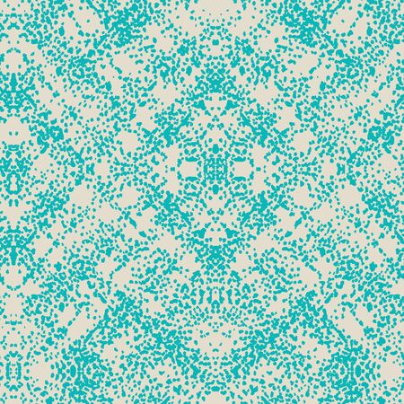Teal and Beige Vector seamless check pattern. Allover pattern. Ink grunge grid. Hand drawn seamless check pattern. Graphic background with ethnic tartan. Seamless check pattern background. Ilustracja
