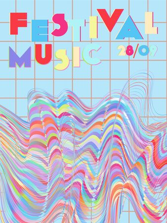 Music cover in pink, blue, yellow, red colors. Rock concert flyer. Minimal tech brochure. Gradient layout. Vibration audio cover. Promotion party ads. Vintage wave template. Иллюстрация