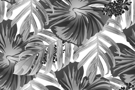 Black white exotic pattern. Monstera leaves and hibiscus flowers in summer print.  Hawaiian t-shirt and swimwear tile.  Horizontal romantic wild vector exotic tile. Bonny spring botanical design.