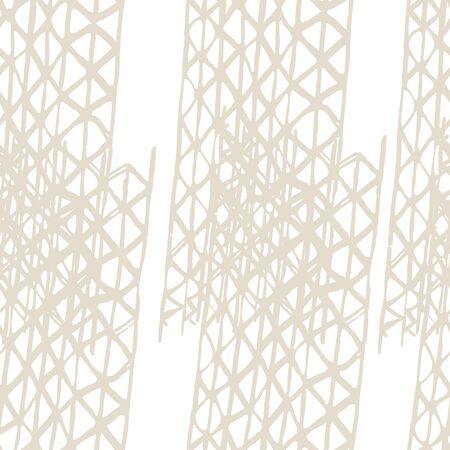 Organic Minimal Grid. Watercolor Shoji Design. Kimono Tile. Beige and White Batik Tie Dye Border. Stencil Japan Background. Shibori Seamless Pattern. Tie Dye Abstract Texture.
