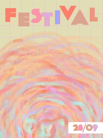 Music cover in red, pink, yellow, orange colors. Rock concert flyer. Minimal tech brochure. Waveform layout. Abstract summer gradient. Media party ads. Vintage wave template.