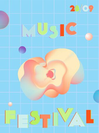 Music cover in pink, blue, orange, green colors. School concert flyer. Minimal line brochure. Soundwave layout. Vibration audio cover. Creative party advertise. Vintage wave template.