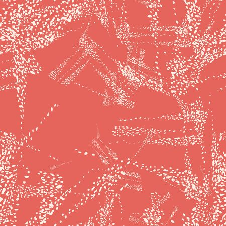 Salmon Red and Beige Vector seamless check pattern. Allover pattern. Ink grunge grid. Hand drawn seamless check pattern. Graphic background with ethnic tartan. Seamless check pattern background.