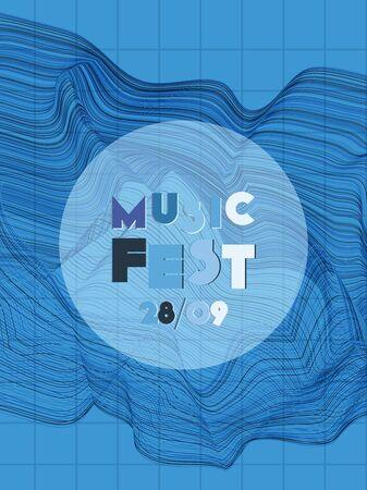 Music cover in indigo, blue, white colors. School concert flyer. Minimal line brochure. Amplitude layout. Geometric audio cover. Creative party advertise. Vintage wave template. Illusztráció