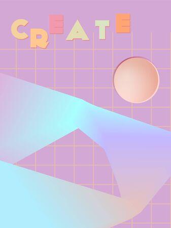 Music cover in blue, violet, pink, orange colors. School concert flyer. Minimal line brochure. Amplitude layout. Vibration audio cover. Promotion party ads. Vintage wave template. Illustration