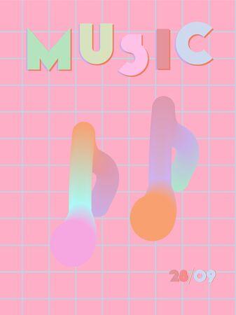 Music cover in blue, violet, pink, orange colors. Radio concert flyer. Minimal line brochure. Soundwave layout. Abstract summer gradient. Media party ads. Vintage wave template. Illustration