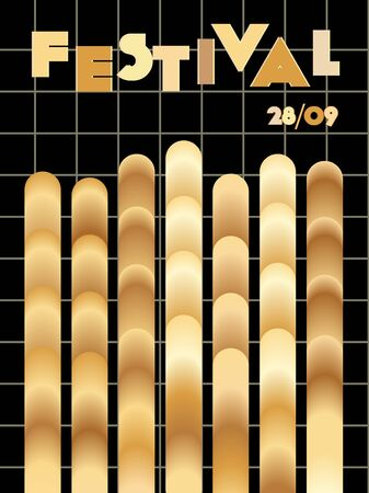 Music cover in gold, yellow, copper colors. Rock concert flyer. Minimal tech brochure. Waveform layout. Geometric audio cover. Promotion party ads. Vintage wave template. Иллюстрация