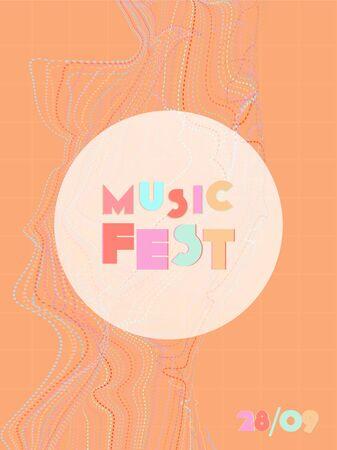 Music cover in blue, violet, pink, orange colors. Rock concert flyer. Minimal line brochure. Gradient layout. Vibration audio cover. Media party ads. Vintage wave template.