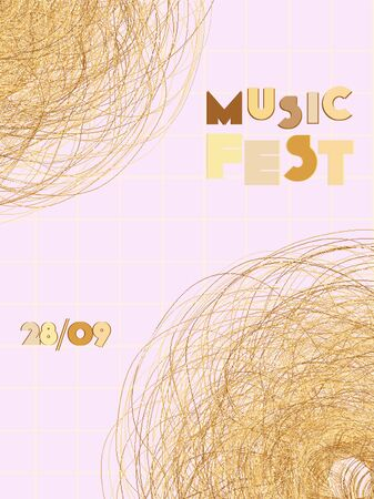 Music cover in gold, yellow, copper colors. Rock concert flyer. Minimal line brochure. Soundwave layout. Geometric audio cover. Creative party advertise. Vintage wave template.