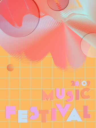 Music cover in blue, violet, pink, orange colors. Rock concert flyer. Minimal tech brochure. Sound background. Geometric audio cover. Media party ads. Vintage wave template.