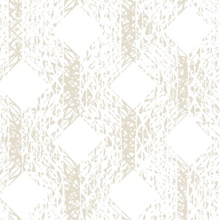 White and Beige Vector seamless check pattern. Allover pattern. Ink grunge grid. Hand drawn seamless check pattern. Graphic background with ethnic tartan. Seamless check pattern background. Illusztráció