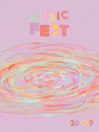 Music cover in blue, violet, pink, green colors. Rock concert flyer. Minimal tech brochure. Gradient layout. Vibration audio cover. Media party ads. Vintage wave template.