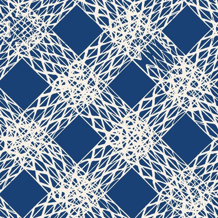Navy Blue and White Vector seamless check pattern. Allover pattern. Ink grunge grid. Hand drawn seamless check pattern. Graphic background with ethnic tartan. Seamless check pattern background. Illusztráció