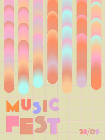 Music cover in red, pink, yellow, orange colors. Rock concert flyer. Minimal tech brochure. Amplitude layout. Geometric audio cover. Creative party advertise. Vintage wave template. Illusztráció