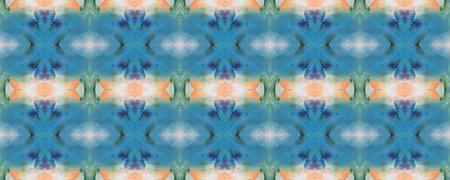 Blue, Gray, Green Pastel Fun Rectangle Ikat Rapport. Ethnic Seamless Pattern. Watercolor Ethnic Design. Paintbrush Aztec Background. Chevron Geometric Swimwear Pattern. Kilim Rug Random Texture.