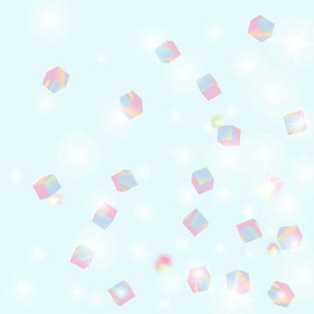 Holo Confetti. Isolated Holographic Cube Particles. Birthday Card with Metallic Texture. Vector Square Bokeh. Iridescent Background. Chaotic Confetti Backdrop. Foil Border. Geometric Anniversary Card.
